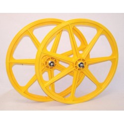"Yellow Skyway Tuff | 24"" BMX Mag Wheels 