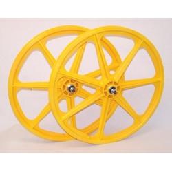 "Yellow Skyway Tuff | 24"" BMX Mag Wheels | Sealed Bearings"
