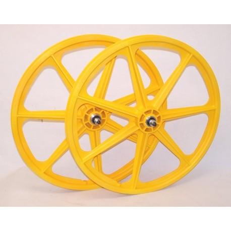 "Yellow Skyway Tuff | 24"" BMX Mag Wheels | Sealed Bearings | £145"