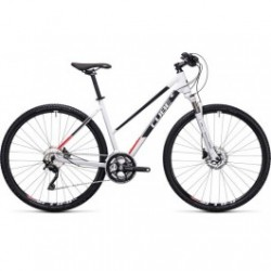 CUBE CROSS | WHITE / FLASHRED | ADULTS HYBRID MOUNTAIN BIKE